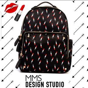 MMS Design Studio Lipstick Satin Backpack NWOT
